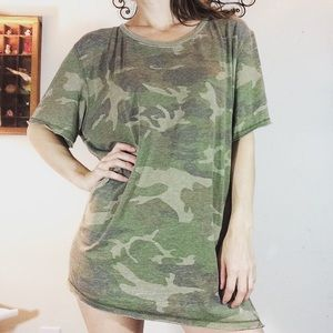 Free People army Print Tee Tunic Veterans 🇺🇸